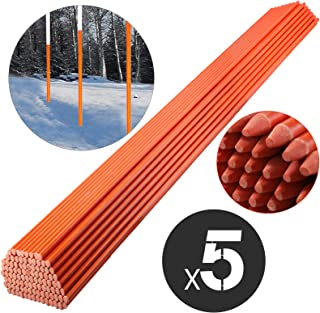 Rods Snow Poles Stakes 48 inches Pack of 50 Driveway Markers 5//16 inch