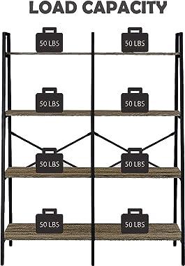 Hombazaar Ladder Shelf,4-Tier Industrial Bookshelf,Double Wide Ladder Bookcase Wood and Metal Bookshelves for Home Office Liv
