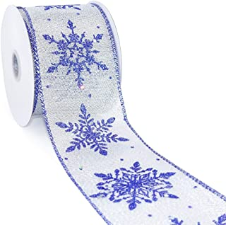 CT CRAFT LLC Silver Metallic Fabric with Royal Blue Snowflake Wired Ribbon - 2.5 Inch x 10 Yards x 1 Roll