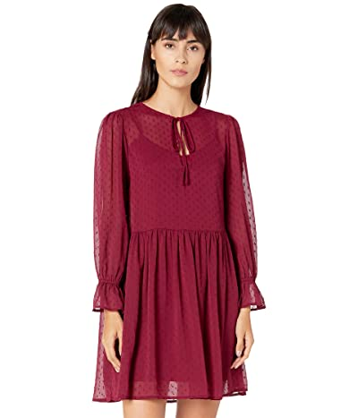 WAYF Swiss Dot Blouse Dress (Burgundy) Women