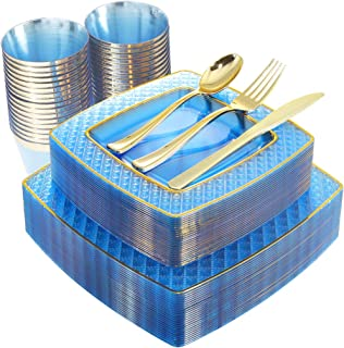 NERVURE 150PCS Blue with Gold Square Plastic Plates & Gold Silverware Set:25 Dinner Plates 9.5
