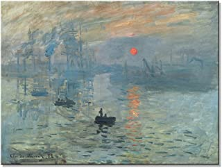 Wieco Art Impression Sunrise Canvas Prints Wall Art of Claude Monet Famous Oil Paintings Reproduction Seascape Ocean Sea Beach Pictures for Home Decorations Modern Stretched and Framed Giclee Artwork