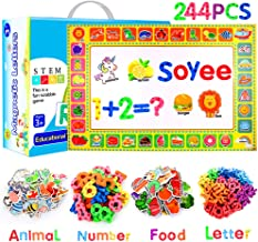 Soyee 244Pcs Magnetic Letters Foam Alphabet ABC Magnets with Double-Side Magnet Board - Educational Toys for Fridge Refrigerator - Kids Word Magnets for 3 Years Old +