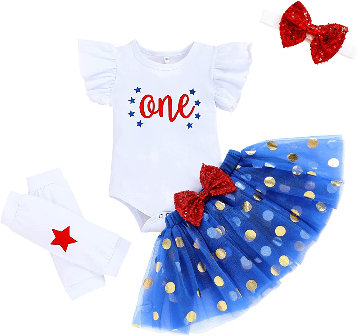 Baby Girl 1st Independence Day Skirt Outfits Toddler One Ruffle Romper Tutu Dress Leg Warmers 4Pcs Clothes