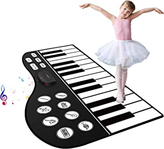 "M SANMERSEN Piano Mat, 71"" Piano Keyboard Mat 24 Keys Piano Play Mat with Record, Input, Playback Function Electronic Dance Mats Best Gift for Boys Girls Kids"