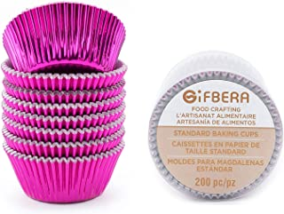 Gifbera Standard Hot Pink Foil Cupcake Liners/Baking Cups 200-Count