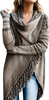 iLUGU Womens Casual Sweater Autumn Winter Tassel Irregular Cardigan Knitted Poncho Shawl Coat Long Sleeve Scarf Collar