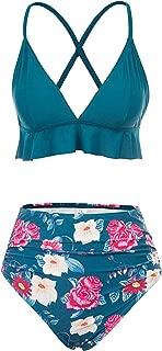 Jasambac Women's Two Pieces Swimsuits Deep V Neck Flounce Bikini Top and High Wasited Bikini Bottom