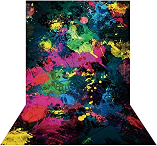 Allenjoy 5x7ft Glow Neon Abstract Graffiti Paint Splatter Backdrop Glow Party 80S 90S Themed Birthday Party Banner Decor Graffiti Painting Photography Background Photo Booth Props Supplies
