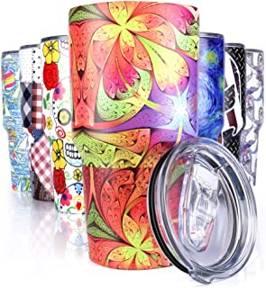 Pandaria 30 oz Stainless Steel Vacuum Insulated Tumbler with Lid - Double Wall Travel Mug Water Coffee Cup for Ice Drink & Hot Beverage, Psychedelic Miami