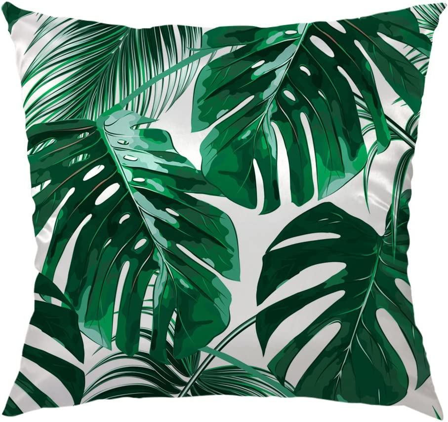 HGOD DESIGNS Tropical Leaf Throw Pillow Case,Beautiful Tropical Palm Tree  Leaves Design Satin Cushion Cover Square Standard Home/Sofa Decorative for  ...
