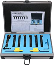 Accusize Industrial Tools 3/8'' Shank 7 Pc Indexable Carbide Turning Tool Set..