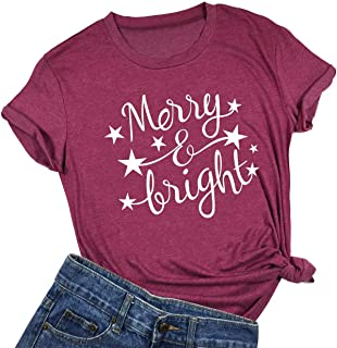 Women Merry and Bright Christmas Stars Shirt Holiday Cute Funny Short Sleeve T-Shirt Top