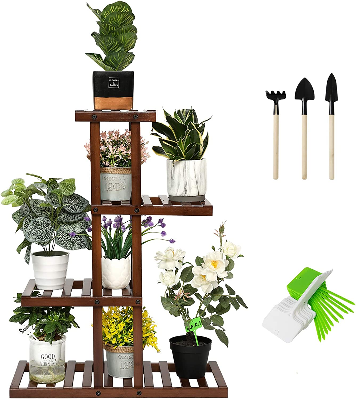 SHALLWE Bamboo 8 Tier 8 Potted Plant Stand, Indoor Outdoor Corner Multiple  Flower Pot Holder Shelf Rack, Multi Level Planter Display Table Shelves for  ...
