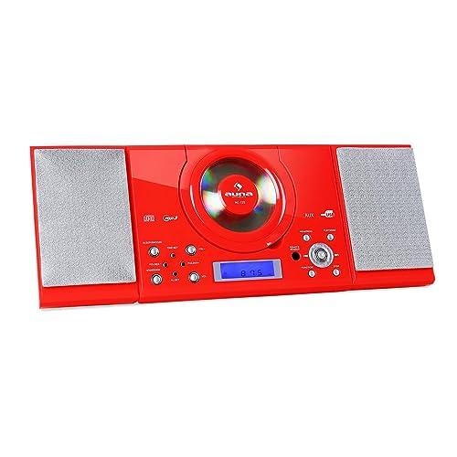 Auna MC-120 • Cadena estéreo • Equipo compacto • minicadena • Reproductor de CD con MP3 • FM • USB • AUX • Despertador • Pantalla LCD • Mando a distancia • Altavoces • Montaje en pared • Rojo