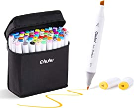 80 Colors Alcohol Markers, Ohuhu Dual Tips Permanent Art Markers for Kids, Highlighter Pen Sketch Markers for Drawing Sketching Adult Coloring, Alcohol-based Markers, Great Christmas Gift Idea