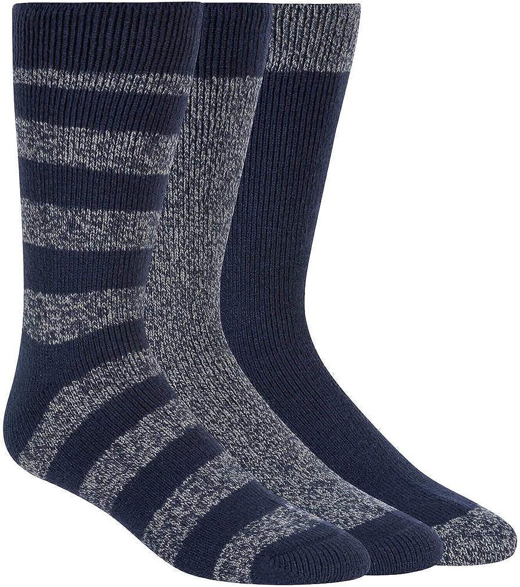 Weatherproof Men's Ultimate Thermal Crew Socks, Blue, 3 Pairs