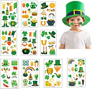 St. Patrick's Day Tattoos Stickers 100PCS 10Pack Temporary Tattoos Shamrock Clover Tattoos For St Patricks Day Accessories Apparel Accessories Party Favors Decorations Suitcase Stickers