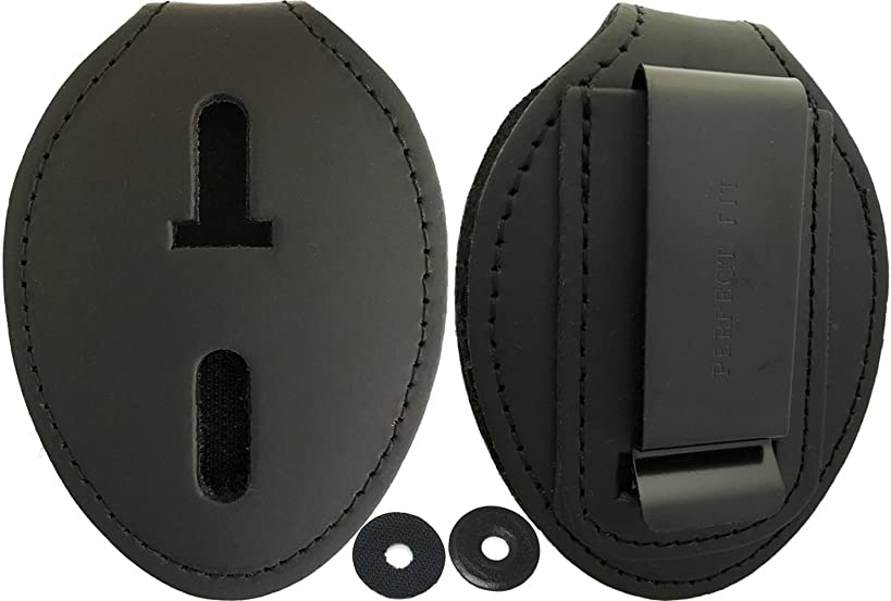 Oval Police Badge Holder Belt Clip - Optional To Use Around The Neck - Black Leather