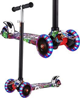 Hikole Kick Scooter for Kids, 3 Wheel Scooter for Toddlers Girls & Boys, 3 Adjustable Height, Lean to Steer with PU Flashing Wheels for Children from 3 to 12 Years Old