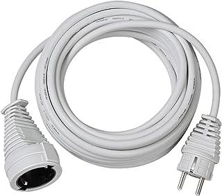 Brennenstuhl kwaliteit kunststof verlengkabel met geaarde stekker en koppeling (verlengsnoer voor binnen met 5m kabel) wit