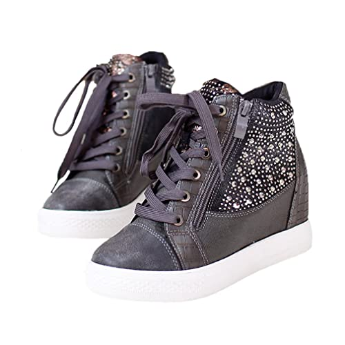 22fc353edbf EpicStep Women s Casual Comfy Studded Leather Tall Up Hidden Wedges High  Mid Heels Sneakers Shoes