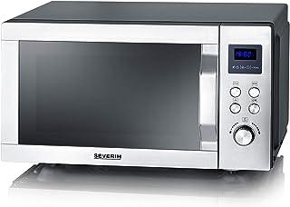 SEVERIN 7758 Micro-ondes 3 en 1 avec fond en céramique Inox/Noir Mat