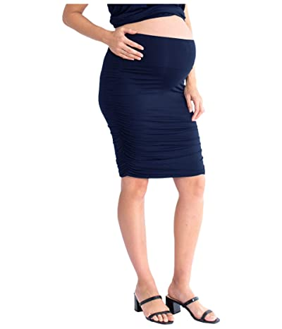 Angel Maternity Maternity Ruched Fitted Skirt (Navy) Women