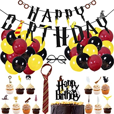 Magic Wizard Birthday Party Supplies for Harry Potter Wizard Theme Party Decorations with Happy Birthday Banner Striped Tie Novelty Glasses Frame Cupcake Toppers Balloons for Boys Girls