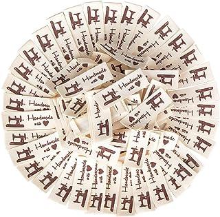 VINFUTUR 100pcs Étiquettes en Tissu Étiquettes Vêtements Fait Main Étiquettes en Textile pour Vêtement Couture Accessoires...