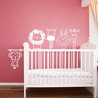 Nursery Wall Decals Cute Monkey Zebra Rabbit Giraffe Lion 5 Piece Set,Wall Stickers for Kids,Modern Design Wall Decals for...