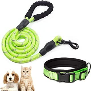 O'woda Dog Collar and Leash Set Reflective Durable Polyester Anti-bite Water-Proof Material with Adjustable Buckle and Com...
