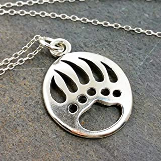 Bear Claw Charm Necklace - 925 Sterling Silver, 18