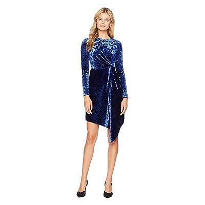 Maggy London Crush Velvet Soft Drape Side Dress with Asymmetrical Hem (Blue Violet) Women