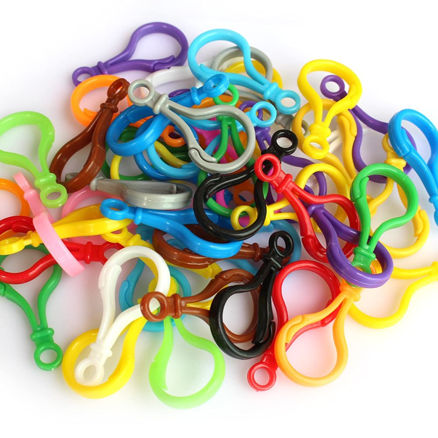 50 PCS Hard Plastic Lobster Clasps Hook for Key Ring/Key Chain/DIY Project, Assorted Colors