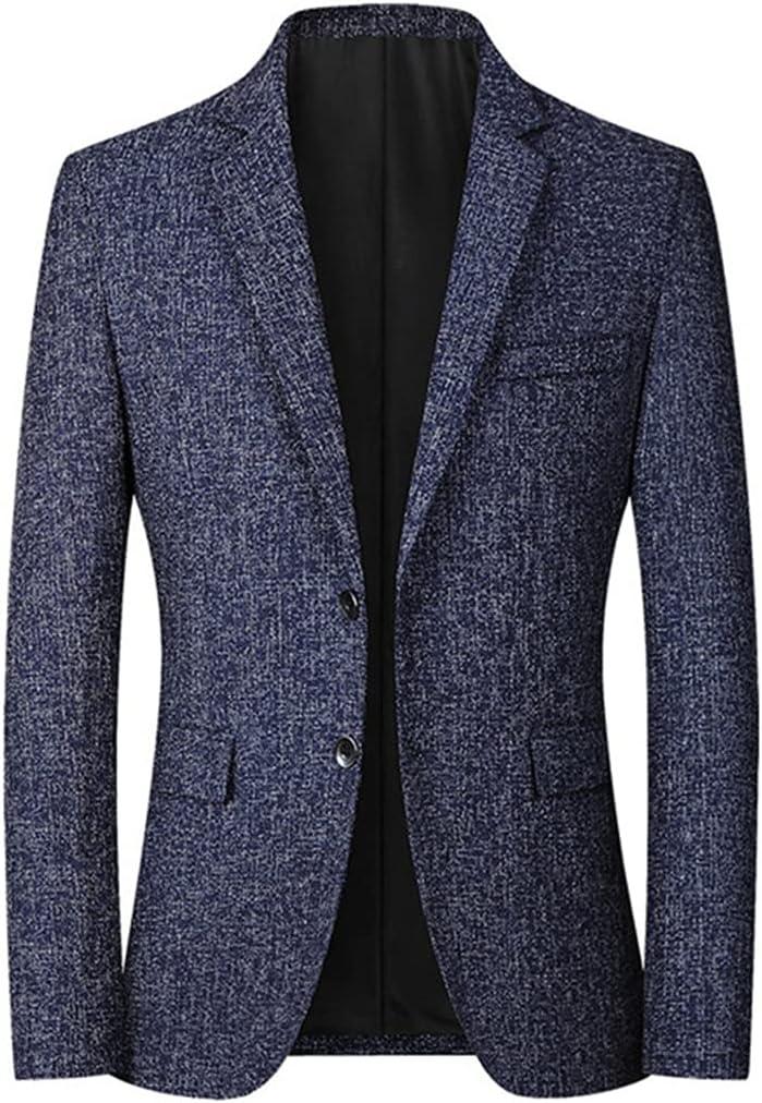 YFQHDD Spring Autumn MenS Blazer Casual Business Handsome Suits Fashion Slim Men's Blazers Tops (Color : Blue, Size : 2XL code)