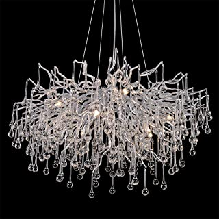 ANTILISHA Modern Crystal Chandelier Round Branch Forest Chandelier Lighting for Dining Room Kitchen Island Large Chandeliers for High Ceilings Long Large Light Fixture 31.5�� Silver
