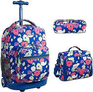 J World New York Sunrise Rolling Backpack & Corey Lunch bag Set (Sunrise w/Casey & Jojo, Petals)