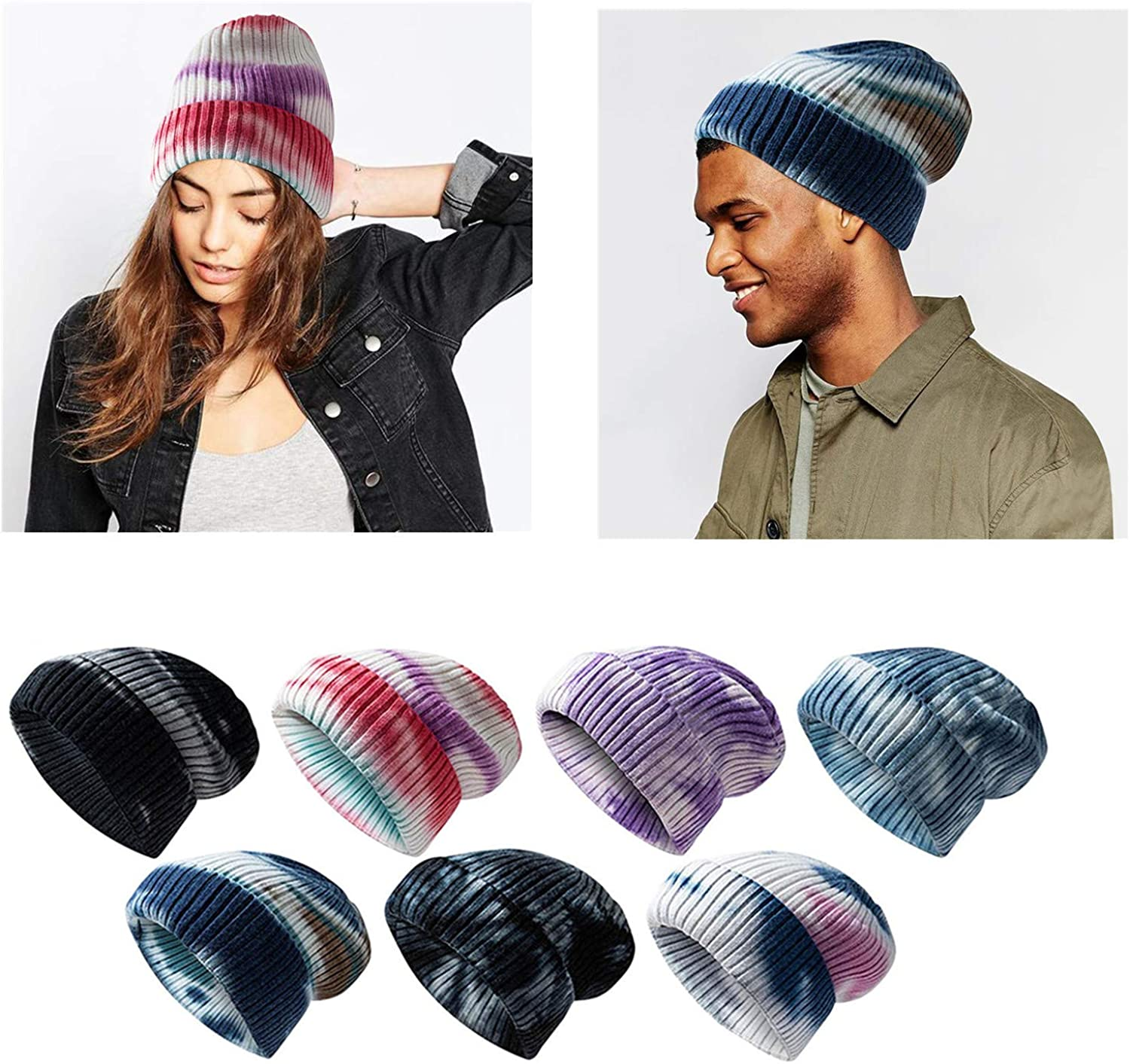 Unisex Winter Knitted Beanie Hat Tie Dyed Print Warm Cable Knit Skull Cap Soft Stretch Skully Beanie for Men & Women