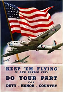 The Art Stop Vintage AD Military AIR Force Bomber Flag USA WW2 WAR Print F12X5862