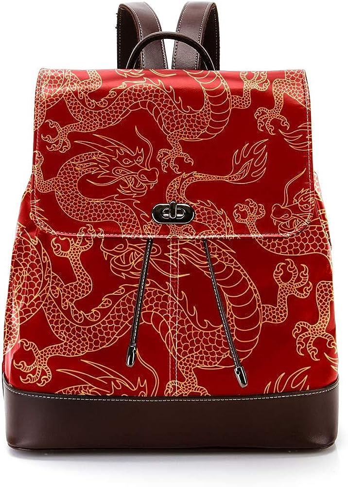 Chinese Dragon PU Leather Backpack Fashion Shoulder Bag Rucksack Travel Bag for Women Girls