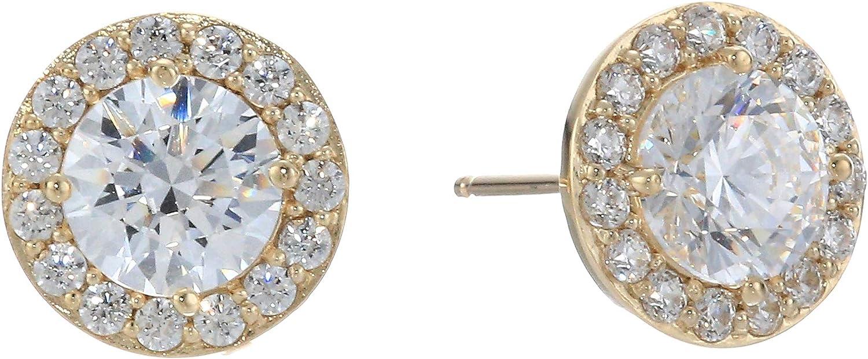 Amazon Collection Women's 10K Gold Swarovski Zirconia Clear Halo Stud Earrings