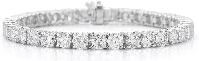 14K White Gold Round-Cut Diamond (H-I Color, I2-I3 Clarity) IGI certified Tennis Bracelet