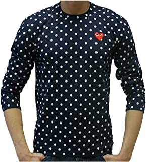 Comme Des Garcons Navy Polka Dot Long Sleeve Shirt with Small Embroidered Heart (XL)