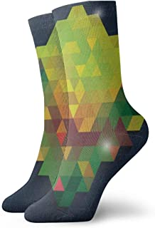 Triangle In Green Dianmond With Bling Background Mens Athletic Crew Socks Basketball Cushioned Sport Long Compression Socks