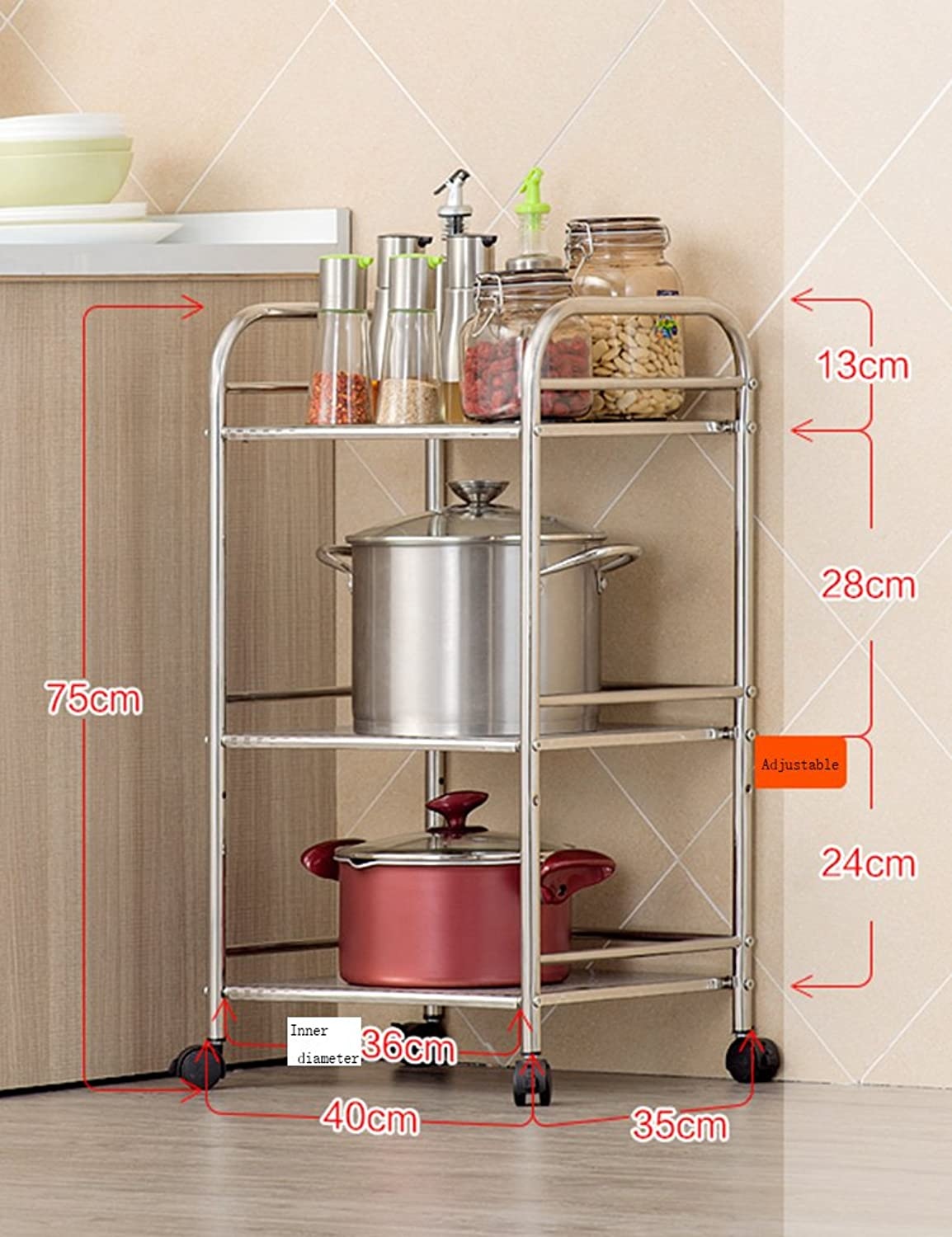 Shelving Unit on Wheel Pantry Microwave Oven Rack Floor Pot Rack Stainless Steel Kitchen Supplies Storage Shelves (Size   40cm)