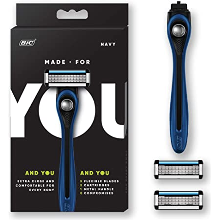 Made For You by BIC Shaving Razor Blades for Every Body - Men & Women, with 2 Cartridge Refills - 5-Blade Razors for a Smooth Close Shave, Navy, Kit