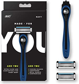 Made For YOU by BIC Shaving Razor Blades for Every Body - Men & Women, with 2 Cartridge Refills - 5-Blade Razors for a Smooth Close Shave & Hair Removal, NAVY