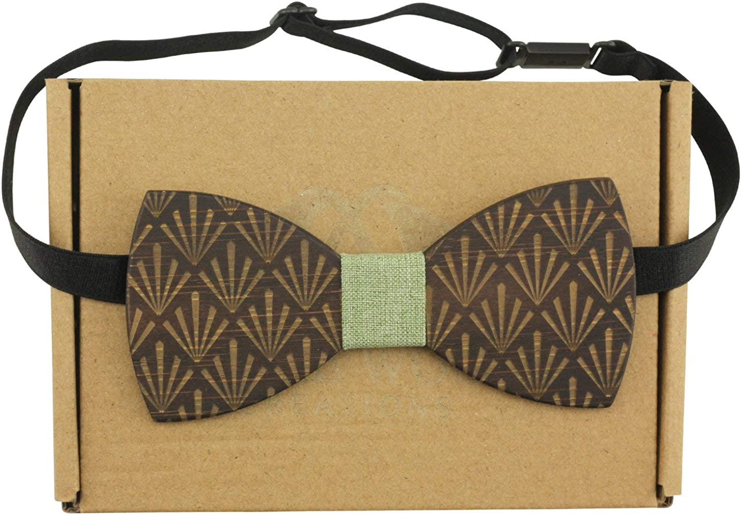 Dark Sandalwood Bow Tie with Five-Leaf Plant Design with Rough Cotton Center