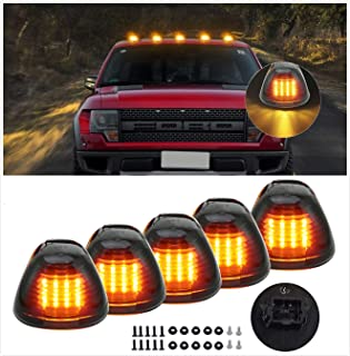 16LED Black Smoked Lens with Amber Cab Roof Top Marker Lamps Clearance Running Lights Assembly For 1999-2016 Ford F-250 F-350 F-450 F-550 Super Duty 2017 2018 E-350 E-450 Super Duty Pickup Truck